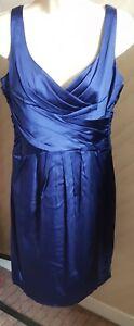 JONES NEW YORK Cobalt Blue Satin Dress UK Size10 (US6)