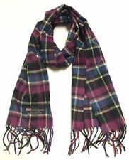 100% CASHMERE SCARF SCOTLAND SOFT Wool Wrap PLAID Purple Blue Black Light yellow