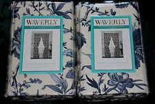 "Waverly Felicite Indigo Blue Floral Drapery Drape Back Tab Panel PAIR Set 84"""