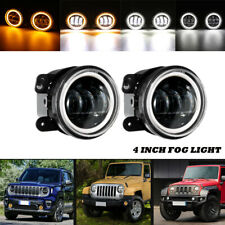 "2x 4""in DOT LED Fog Lights Dual Colors Halo Angel Eye for Jeep Wrangler Compass"
