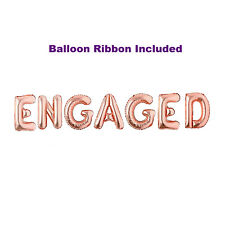 Engaged Rose Gold Balloons Banner Engagement Party Decorations Set Letter Lover