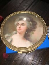 """Antique French Dore Bronze/Wooden 4 """" Oval Trinket Box W/19th Century Lady"""