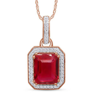 Men's 10k Solid Rose Gold Rectangular Ruby Charm With 0.20ct Natural Diamond