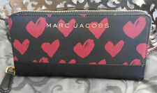 MARC JACOBS ~Branded Saffiano RED HEARTS Continental Wallet ~BLACK~ NWT $175