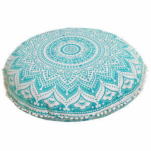 "New 32"" Round Green Ombre Floral Mandala Cushion Cover Floor Pillow Covers Throw"