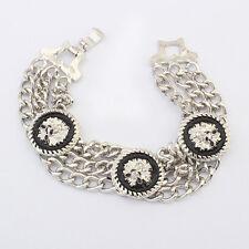 ED15 Chain Link Silver & Black Lion Head Medallion Bangle Bracelet