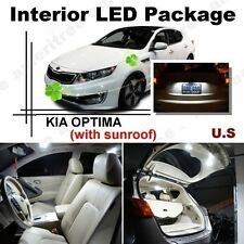 For Kia Optima w/ sunroof 2011-2015 White LED Interior kit + White License Light