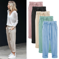 Womens Baggy Elastic High Waist Trousers Cotton Linen Harem Pants New Plus Size