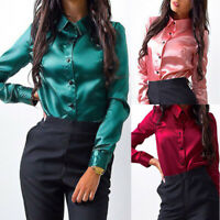 Formal Women Satin Silk Shirts Turn Down Collar Long Sleeve Office OL Blouse H05