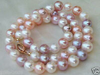 """Genuine 7-8mm Natural Multicolor Freshwater Cultured Pearl Necklace 18"""" AAA++"""