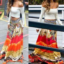 Womens Summer Beach Long Casual Skirt Dress Summer Boho Tribal Floral Skirt Maxi