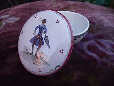 VTG GERMAN FAIENCE POTTERY TRINKET POT HAND PAINTED MAN IN 18TH CENTURY COSTUME