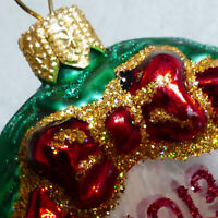 """Christmas Ornament Glass POLONAISE FEATHER TREE Wreath 2013 Red Green 1.5"""""""