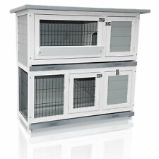 "Rabbit Hutch 40"" Wooden Rabbit Bunny Cage Indoor Outdoor Pet House Chicken Coop"
