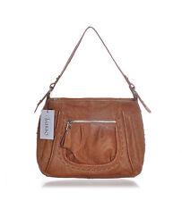 New Lusso Genuine Italian Crinkle Leather Handbag - Stunning Tan!