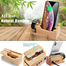 Bamboo Charging Dock Station Holder Stand For Apple Watch Cellphone iWatch