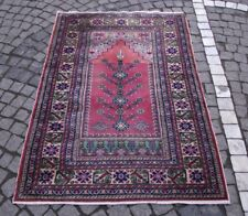 Handmade Antique Anatolian Wool Rug 3 x 4.5 ft Turkish Kayseri Oriental Carpet