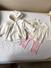 NEXT baby Girl 3 Piece Set White Fleece Cardigan Cream Top Pink Leggings 3/6 NEW