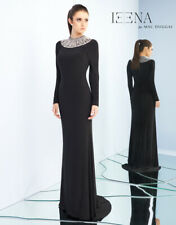 NEW IEENA by MAC DUGGAL 25926i Black Silver Beaded Collar Necklace Jersey Gown 4