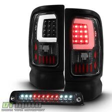 Black 1994-2001 Dodge Ram 1500 LED Tube Tail Lights+LED 3rd Brake Cargo Lamp Set