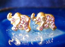 Ohrstecker Ohrring Elefant vergoldet mit Kristall rosa rosé