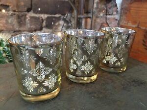 Set 3 Elegant Gold Pattern Glass Votive Tea Light Candle Holders Gift Christmas