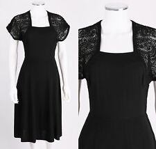 VTG 1940s BLACK RAYON CREPE SOUTACHE DETAIL CAP SLEEVE COCKTAIL DRESS SZ S