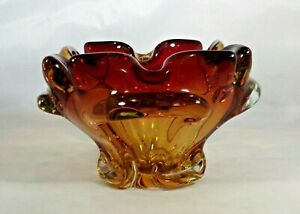 "Ashtray Art Glass Heavy Amber Red Flower Shaped 3"" Tall 4.25"" Across Vintage 60s"
