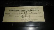 BANK CHECK WESTERN  SAVINGS BANK - LONG BEACH, CA 1928