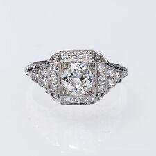 Really Pretty Fine Platinum Vintage Art Deco Diamond Engagement Ring .83 Carats