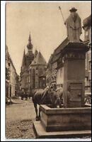 St. Wendel Saarland Postkarte 1920/30 Dom am Wendelinus Brunnen Pferde Tränke