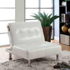 Leather Lounge Chair Modern Tufted Ottoman Chaise Couch White Contemporary Bed