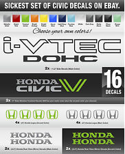 "2x Honda i-VTEC 11"" OEM Size 06-11 Civic Si  VTEC vinyl decal 16 stickers WHOA"