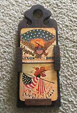 New ListingVintage Coasters Set 6 Hanging Wood Holder Spain Americana Cork Patriotic