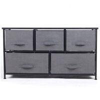 Polar Aurora 5 Drawers Dresser Sturdy Metal Frame Easy Pull Fabric Bins
