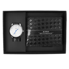 Men's Silver Tone Analog Wrist Watch & Black Wallet Gift Set Box Combo WW2020B-C