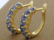E083 Genuine 9K Solid Gold NATURAL Sapphire Huggie Earrings September birthstone
