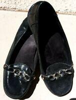 Vionic US 8 Charm Alda Orthotic Leather Loafers w/ Chain Detail - Black       /1