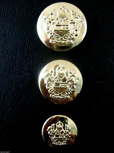 GOLD PLASTIC CRESTED BLAZER BUTTONS - 3 Sizes 15mm 18mm 21mm - WITH SHANK CX23