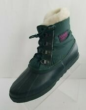Sorel Kaufman Canada Ankle Boots Nylon Rubber Green Laced Removable Lining Sz 9