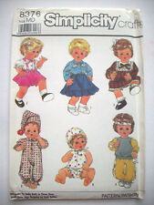 """Baby doll clothes 15"""" 16""""  medium  size pattern 8376 unused"""