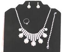 Silver Plated Rhinestone Bridal Pearl Necklace, Earrings, Bracelet, Ring Set