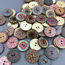 50x DIY  Flower Picture Wood Buttons 2 Holes Mixed Color Apparel Sewing Gifts