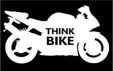Pensate BICI smettere di pensare Bici Moto Adesivo Decalcomania Grafica Vinile etichetta whitev2