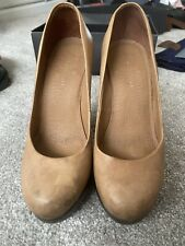 Camel Leather Court Shoe Kurt Geiger Chunky Heel Size 5 Eur 38