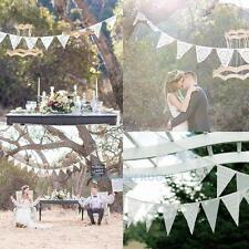 3.2m Weiß Spitze Wimpelkette Wimpelgirlande Dekoration Party Hochzeit Event