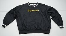 Port Authority Mens XL Black Pitsburgh Steelers Nylon Lined Windbreaker Jacket