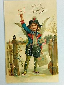 Vintage Postcard To My Valentine Young Boy with Wings Delivering Card Post 1908