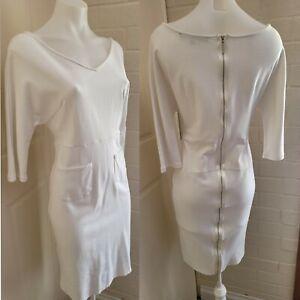 Victoria Beckham white stretch midi dress - M