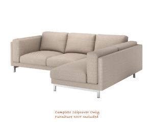 NOCKEBY Cover for 3-Seat Sofa w/ Chaise RIGHT ~Lejde Dark Beige: 503.994.79 IKEA